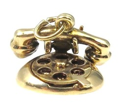 14k YELLOW GOLD 3D VINTAGE ROTARY PHONE CHARM - $163.63