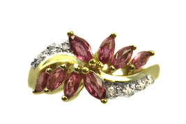 10k Yellow Gold Diamond And Pink Sapphire Women's Color Stone Ring - $163.63