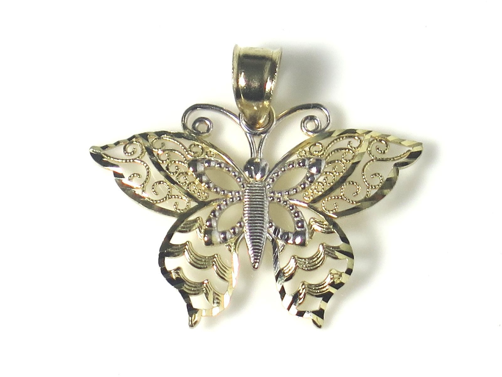 14k Two Tone Gold Fillagry Design Butterfly Charm