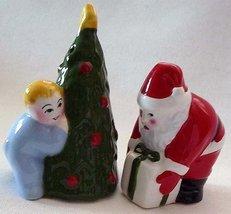 CLAY ART Salt & Pepper CHRISTMAS EVE Santa Child ChristmasTree RETIRED N Vintage image 1
