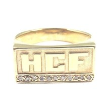"14k Yellow Gold ""H C F"" Initial Ring With Diamonds - $425.43"