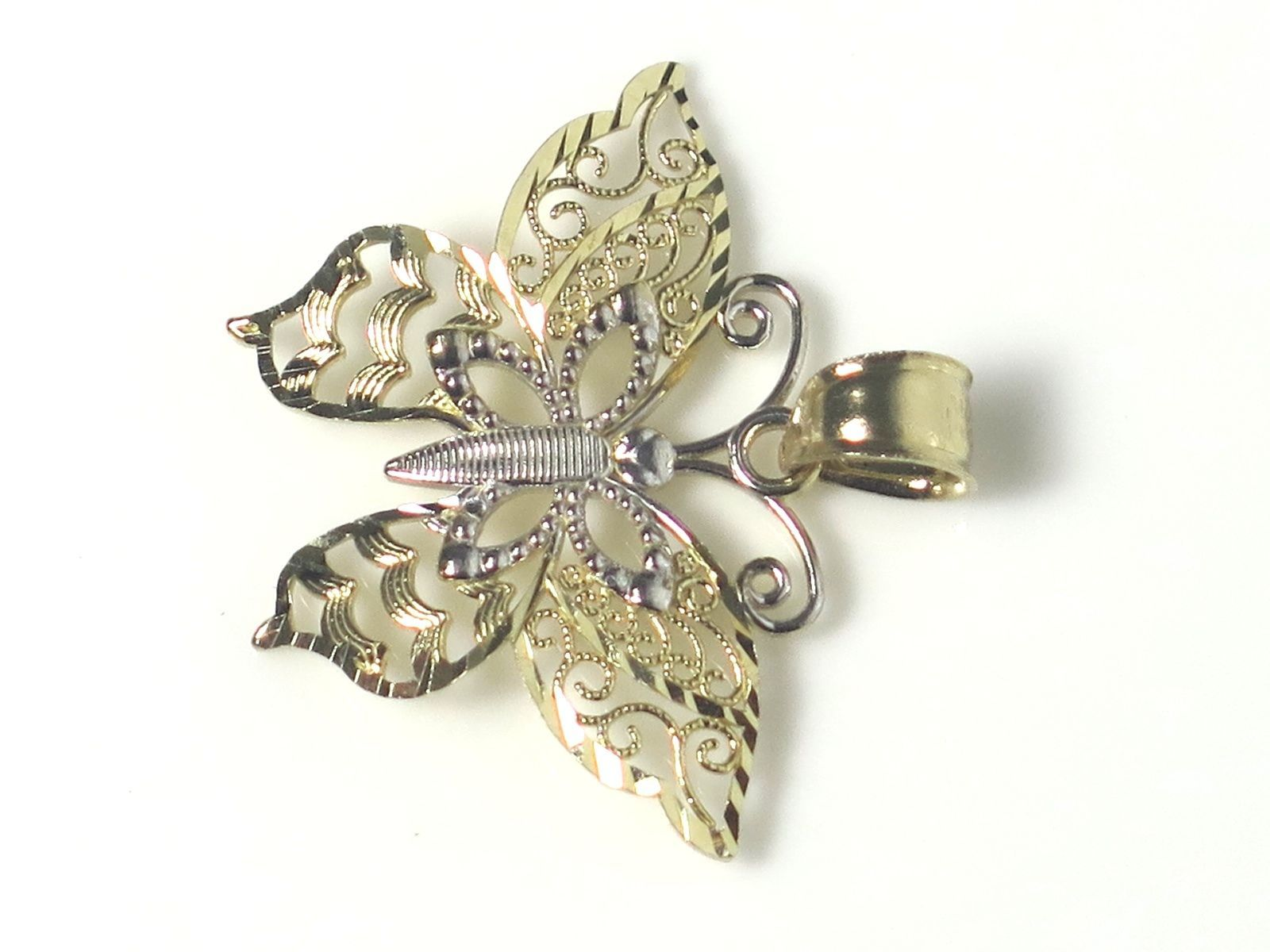 14k Two Tone Gold Fillagry Design Butterfly Charm image 3