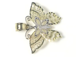 14k Two Tone Gold Fillagry Design Butterfly Charm image 2
