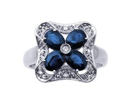 14K WHITE GOLD DIAMOND AND SAPPHIRE PEDAL RING - $453.48