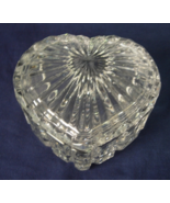 Lead Crystal Heart Shaped Trinket Box with Lid - $7.00