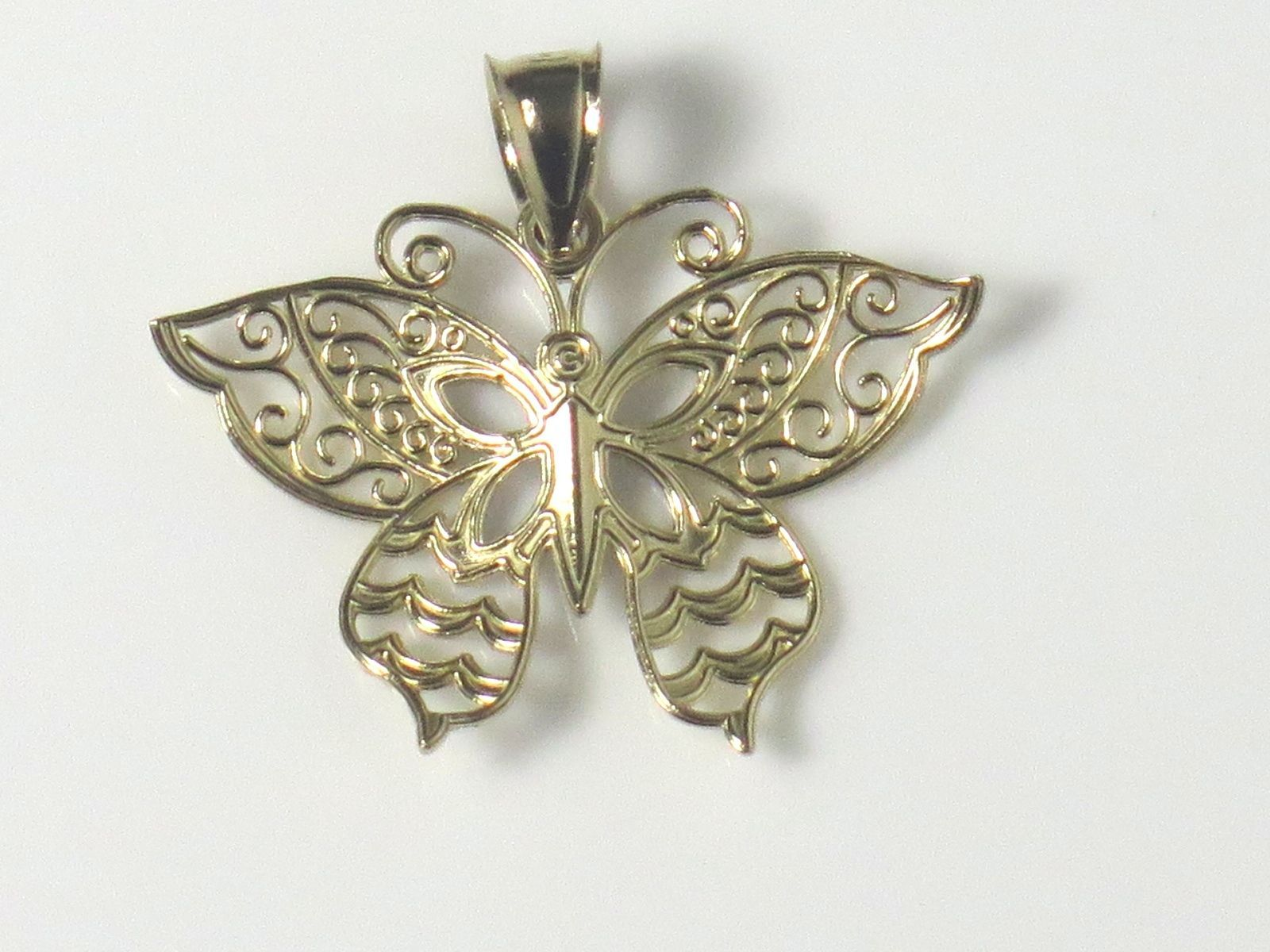 14k Two Tone Gold Fillagry Design Butterfly Charm image 4