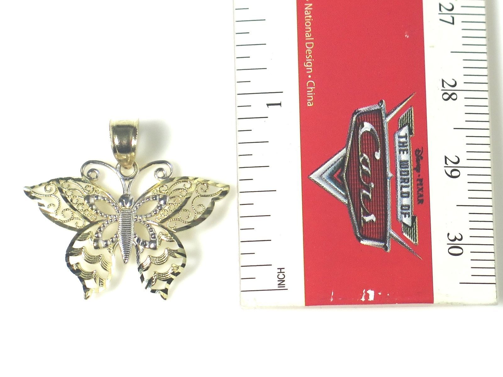 14k Two Tone Gold Fillagry Design Butterfly Charm image 6