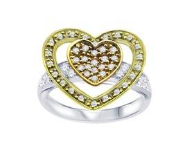 18K TRI-COLOR GOLD DOUBLE HEART DIAMOND RING - $483.97