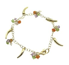 18k Yellow Gold Charm Bracelet With Dangling Color Stones And Italian Horns - $388.03