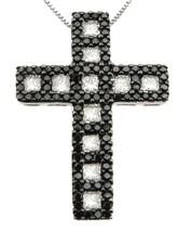 14 K White Gold Black And White Diamond Square Shape Cross Pendant - $1,725.00