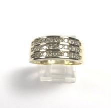 10k Yellow Gold Gorgeous Three Row Diamond Band With Tapered Shank .90ct - $458.15