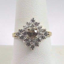 14k Two Tone Gold Diamond Cluster Ring With Chocolate Center Diamond 1.00ct - $466.57