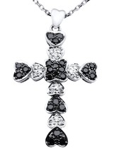 14K WHITE GOLD HEART SHAPE BLACK AND WHITE DIAMOND CROSS PENDANT - $1,015.59