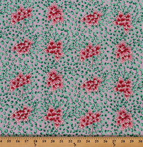 Peking Pink Flowers Green Leaves on Pink Cotton... - $11.83