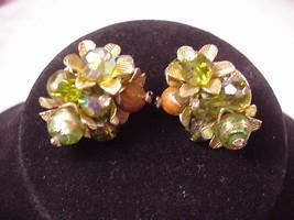Vendome Earrings Beaded Crystal Rhinestone Vintage Adjustable Clip On - $39.00
