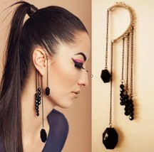 Stylish Punk Black Beaded Tassel Earring - $6.49