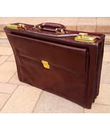 Vtg Briefcase-Quality Top Grain Leather-Burgandy-Expandable-Pockets-Comb... - $140.24