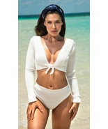 Mapale White Ribbed LS Tie Front Bikini w/ Cheeky Back Swimsuit 6571 - $38.99