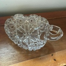 Estate Clear Cut Pinwheel Crystal Curled Leaf Shaped Candy Dish or Trinket Holde - $12.19