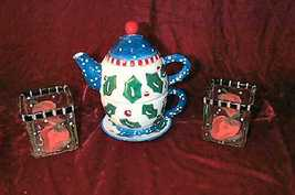 New Bella Casa Ganz Tea For One Set Bonus Christmas - $16.50
