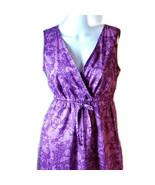 "Eddie Bauer ""Iris"" Purple Floral Lined Cotton Faux Wrap Sleeveless Dress... - $34.47"