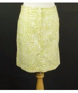 ANN TAYLOR Size 12 Lime Print Stretch Cotton Knee Skirt - $9.99