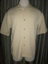 Cubavera Men's M Khaki Tan Short Sleeve Button Front Shirt Rayon - $27.99