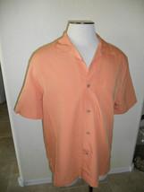 Cubavera Poly Blend Medium Mens Salmon S/S Button Up Sexy Dress Shirt - $17.99