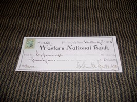 Handwritten Check 1875 Western Nat'l Bank Philadelphia Arthur H. Scott W... - $4.99