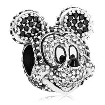 925 Sterling Silver Sparkling Mickey Portrait Charm Bead QJCB821 - $24.99