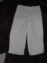 Liz Claiborne Lizwear L Tan Cotton Blend Wide Leg Crop Pants 32/22.5 - $9.99