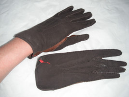 New Fownes Own Make Women Brown Leather Driving Gloves 6/2 - $8.99