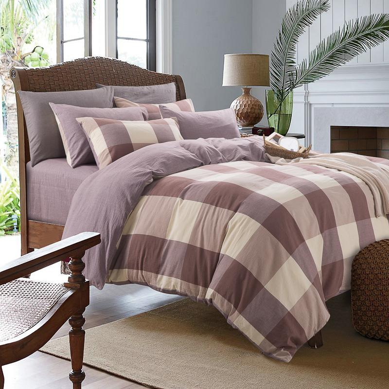 Plaid Duvet: High Quality 100% Washed Cotton Plaid Duvet Covers