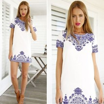 Summer Women Short Sleeve Top Party Porcelain Print #B Casual Mini Shift... - $6.83