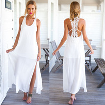 Summer Style Elegant Women Long Beach Dresses Casual #B White Lace Maxi ... - $7.41