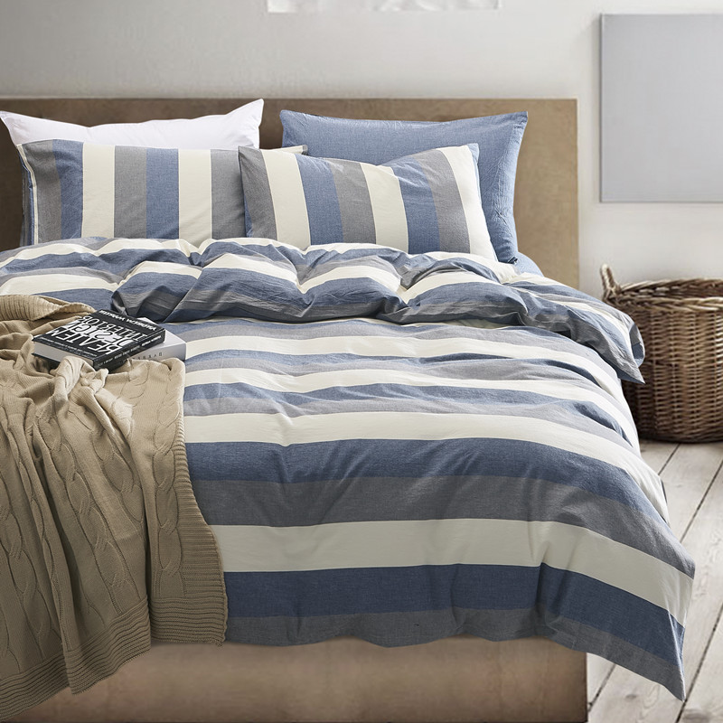 High Quality 100 Washed Cotton Stipe Duvet Covers