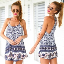 Lady Sexy Summer Beach Floral Spaghetti Strap Halter Mini Dress #B Club ... - $4.06