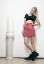 80s leather salmon pink vintage skirt - $48.45