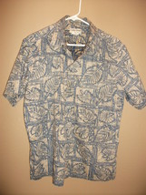 Vintage Cooke Street Mens L Hawaiian Shirt Reverse Print Blue Tan Leaves - $16.19