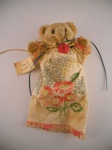 "Vintage Hand Embroidered Linen Lace Dress Stuffed Bear Measures 6"" tall - $19.99"