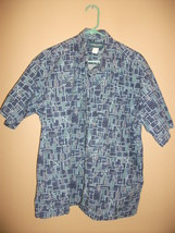 Vintage Cooke Street Mens L Hawaiian Shirt Blue Palm Tree - $13.79