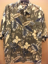 Vintage Campia Moda Mens XL Hawaiian Shirt Green Blue Leaves Flowers Rayon - $10.79