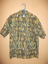 Vintage Cooke Street Mens L Hawaiian Shirt Blue Pineapple Bamboo - $13.79