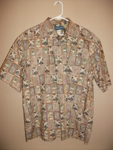 Vintage Cooke Street Mens XL Hawaiian Shirt Brown Tan Palm Tree Hut - $13.79