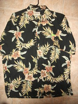 Vtg Cooke Street Mens L Hawaiian Camp Shirt 100% Cotton Black Hibiscus L... - $13.79