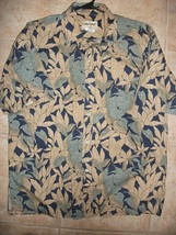 Vtg Cooke Street Mens L Hawaiian Camp Shirt 100% Cotton Leaves 80s - $14.99