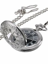 Mudder Vintage Roman Numerals Scale Quartz Pocket Watch with Classic Chain - $16.62+