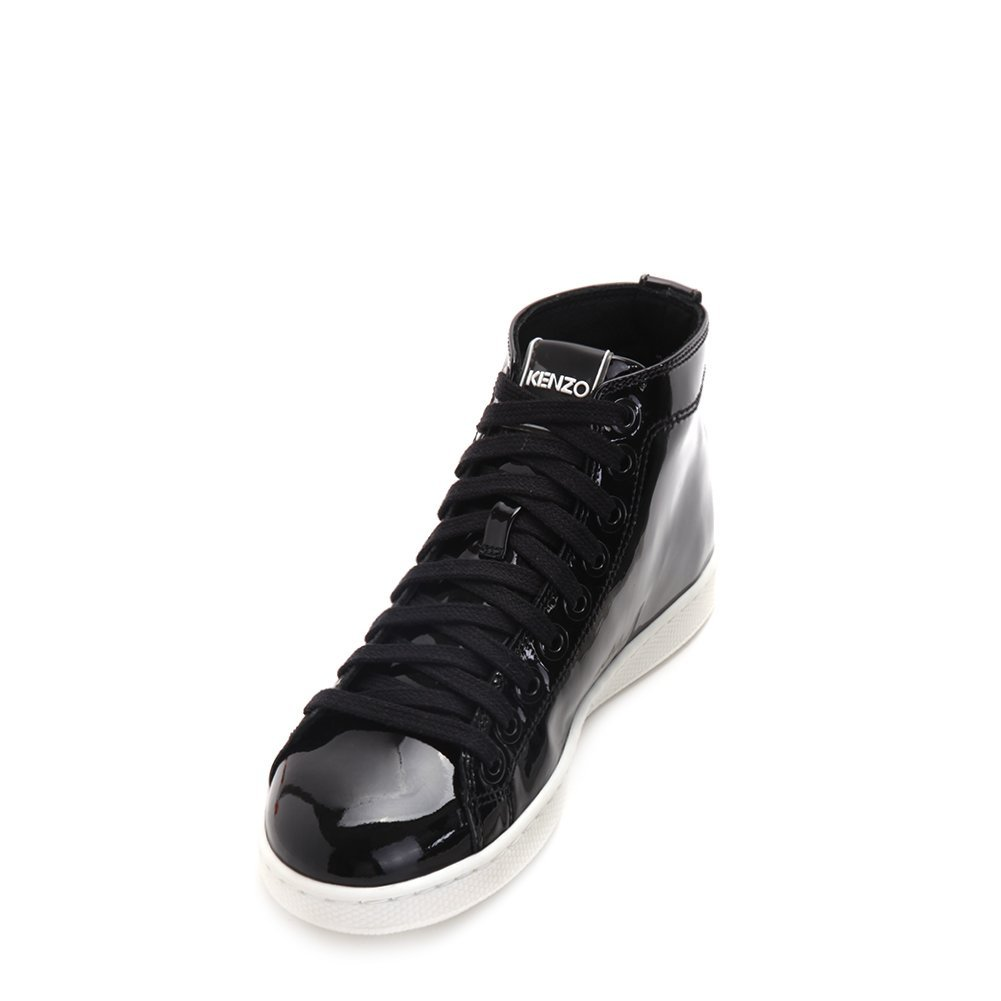 Kenzo Women's Glossy Hightop Sneakers F562SN131L52-99 Black SZ 35