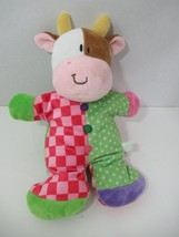 Russ Berrie Cow plush baby rattle pink checks green polka dots white brown - $29.69