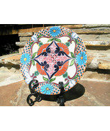 Mexican Hand Painted Signed Talavera Pottery Plate With Iron Stand 2319 bz - $99.97